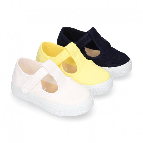 Cotton Canvas Little T-Bar shoes sneaker style with hook and loop strap.