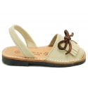 Nubuck leather menorquina sandals with rear strap and fringed tab.