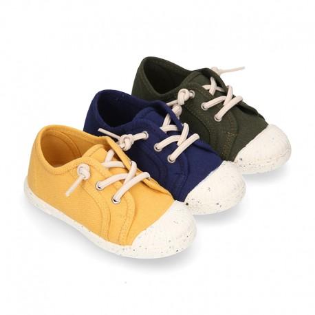 Zapatilla niño con puntera y cordones elásticos en lona algodón RECICLADO..