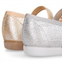 Serratex canvas little Girl Mary Janes with bow in METAL colors.