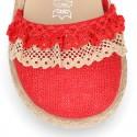 BABY Linen canvas espadrille shoes with laces design.