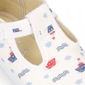T-Strap Cotton canvas Bamba type shoes with BOATS design.