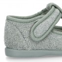 ORGANIC Terry cloth Home little T-Bar shoes with hook and loop strap.