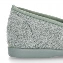 ORGANIC Terry cloth Home little KUNF FU style shoes with elastics bands.