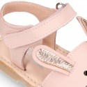 Little PINK RABBIT soft leather Menorquina sandals with hook and loop strap.