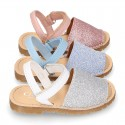 SHINY leather Girl Menorquina sandals with hook and loop strap.