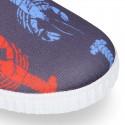 Zapatilla niños NEOPRENO con diseño con LANGOSTAS para playa y piscina.