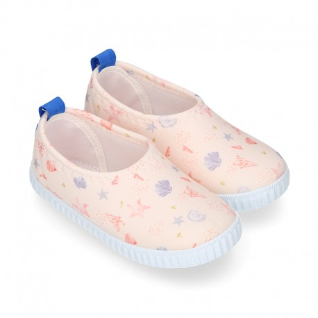 NEOPRENE fabric kids Sneaker shoes for beach and pool use with SHELLS design.