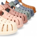 Classic Kids jelly shoes for Beach and Pool use in SOLID colors with hook and loop strap closure.