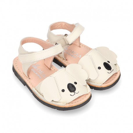 Little KOALA design soft leather Menorquina sandals with hook and loop strap.