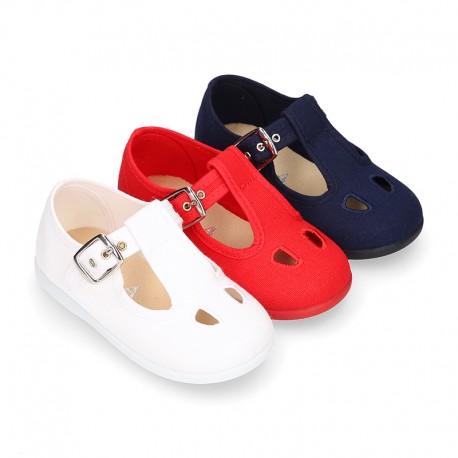 PERFORATED design cotton canvas little Kids T-Strap shoes.