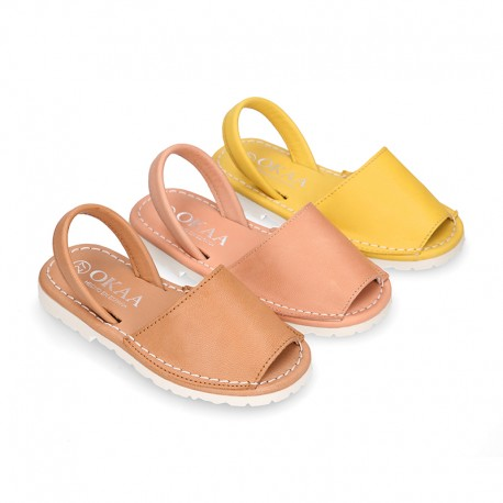 SOFT NAPPA leather Kids Menorquina sandals with rear strap.
