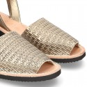LEAD color Nappa leather Women Menorquina sandals with wedge.