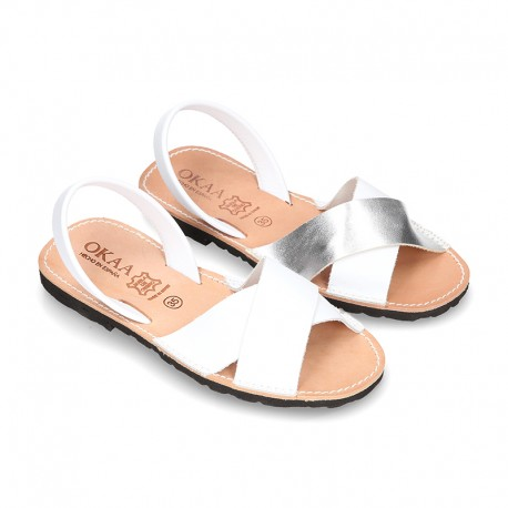 Nappa leather Menorquina sandals with crossed straps.