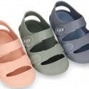 SOLID Colors Kids Jelly shoes with hook and loop strap for the Beach and Pool.