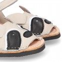 Little RACOON design soft leather Menorquina sandals with hook and loop strap.