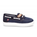 Combined nautical sneaker type shoes for toddler boys.