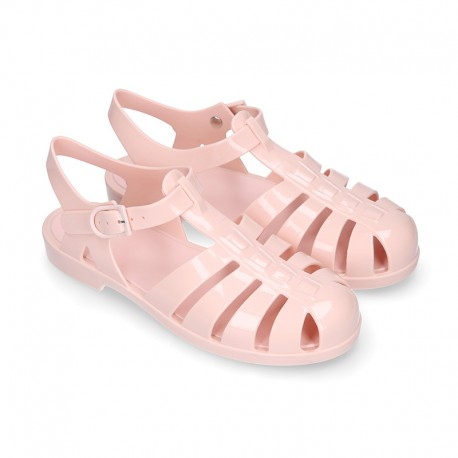 Women classic jelly shoes sandal style for the Beach and Pool in MAKEUP PINK color.
