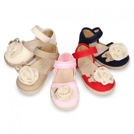 Baby canvas espadrille sandal with FLOWER design.