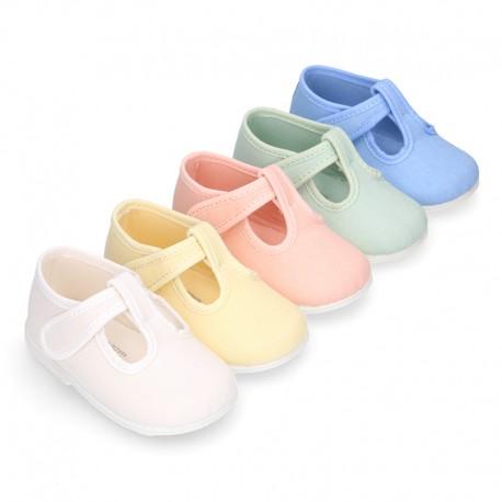 Pepito bebé niño lona piqué en colores pasteles y suela SUPER FLEXIBLE.