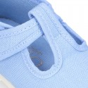 Pastel colors Cotton canvas little T-Strap shoes with hook and loop closure for babies.