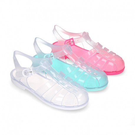 Women classic jelly shoes sandal style for the Beach and Pool in CRYSTAL colors.