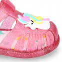 UNICORN design jelly shoes for the Beach and Pool with hook and loop strap closure.