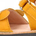 Little DOG design soft leather Menorquina sandals with hook and loop strap.