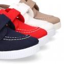 Cotton Canvas Boat shoes laceless.
