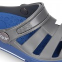 Kids jelly shoes with OLA COMBI CLOG design for beach and pool use.