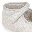 Pastel colors Knit Cotton canvas little Home Mary Jane shoes with hook and loop closure for babies.