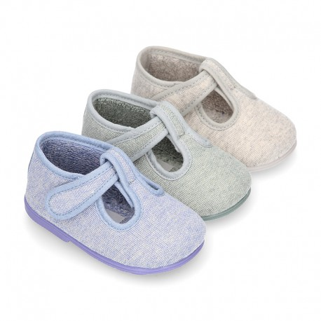Pastel colors Knit Cotton canvas little Home T-Strap shoes with hook and loop closure for babies.