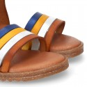 TAN leather girl sandals with straps design with hook and loop strap closure and gel insole.