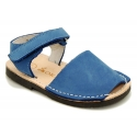 NOBUCK leather Menorquina sandals with flexible outsole and hook and loop strap.