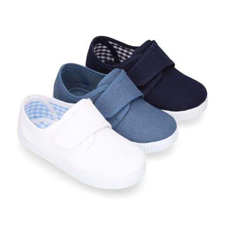 Cotton Canvas kids sneakers or bamba shoes with hook and loop strap closure.