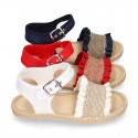Girl SANDAL shoes espadrille style in linen canvas with elastic design.