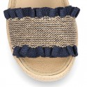 SANDALIA niña tipo alpargata con hebilla en lino con diseño elástico.