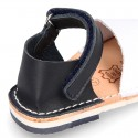 Combined leather Kids Menorquina sandals with counter and hook and loop strap.