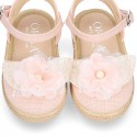 MAKEUP PINK color LINEN canvas Girl espadrille shoes with flower design.
