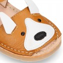 Little FOX design soft leather Menorquina sandals with hook and loop strap.