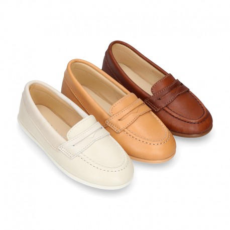 Soft Nappa leather Kids Moccasin shoes with detail mask.