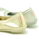 Stretch ballet flat shoes in metal finish leather.