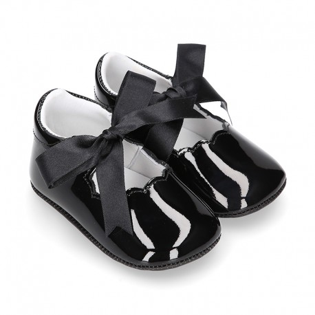 BLACK Patent leather Baby Girl Mary Janes angel style with ties.