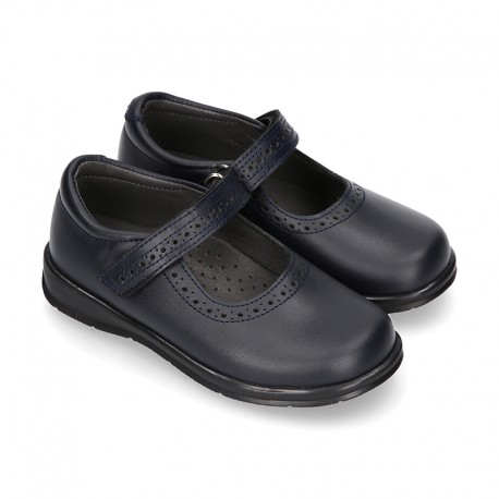 School Classic girl BOXCALF Nappa leather Mary Jane shoes with chopped design and hook and loop strap.