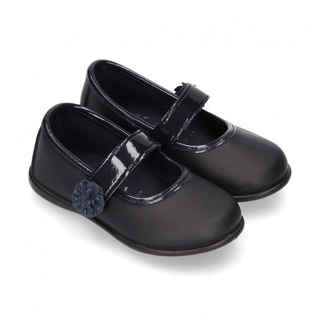 Little Girl School shoes Mary Jane style laceless with FLOWER in washable leather.