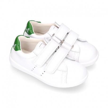 Washable Nappa leather Fashion OKAA kids School tennis shoes laceless.
