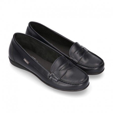 Classic school GIRL Moccasin shoes in Boxcalf Nappa leather with rubber sole.