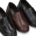 Classic school Kids Moccasin shoes in Nappa leather with rubber sole.