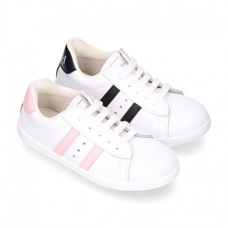 Washable leather OKAA kids School tennis shoes with laces, stripes design and toe cap.