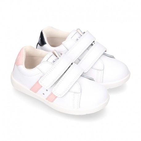 Washable leather OKAA kids School tennis shoes laceless, stripes design and reinforced toe cap.